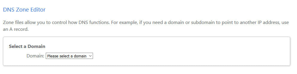 bluehost-zone-editor-select-domain